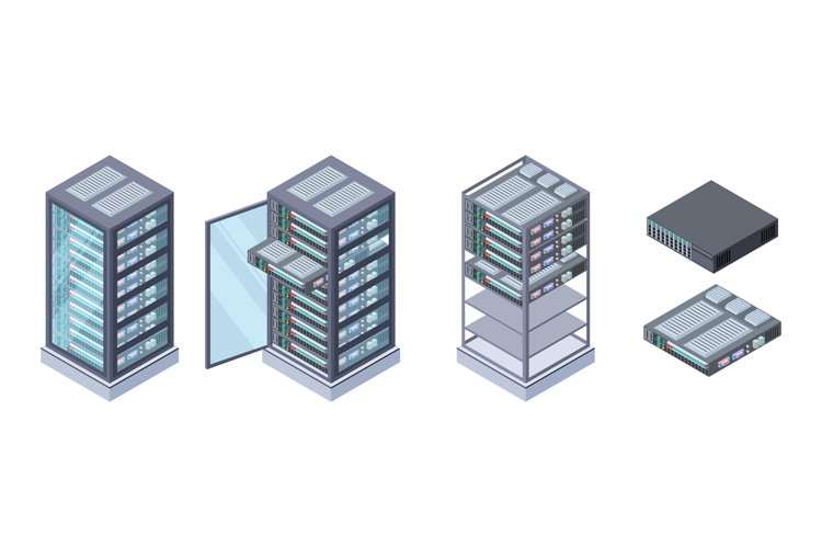 Isometric servers, data storages vector. 3D computer equipme example image 1