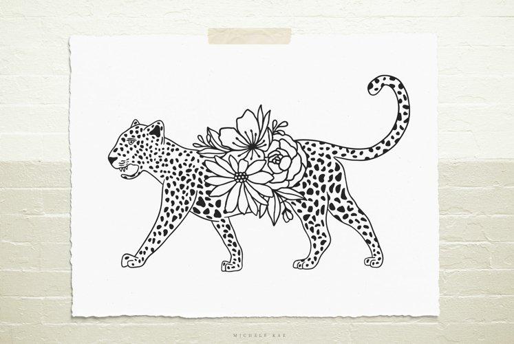 Cheetah flowers svg cut file example image 1