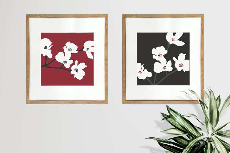 Japanese Flower Digital Prints - Red and Black Set