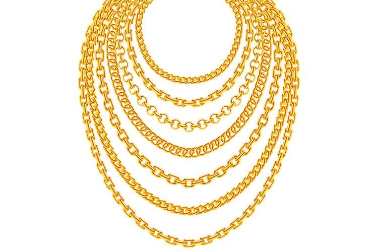 Golden metallic chain necklaces vector set example image 1