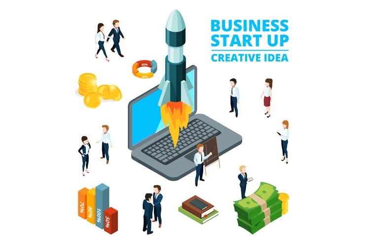 Concept illustration of starting business. Startup visualiza example image 1