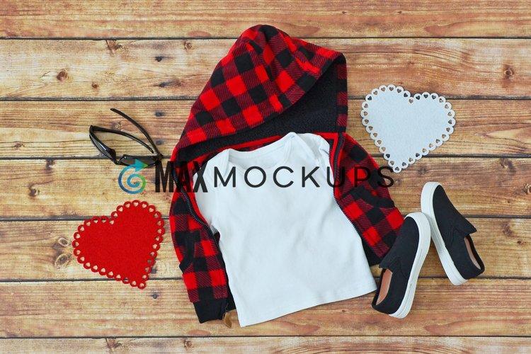 Kids shirt Mockup, red Valentine hearts, buffalo plaid image example image 1