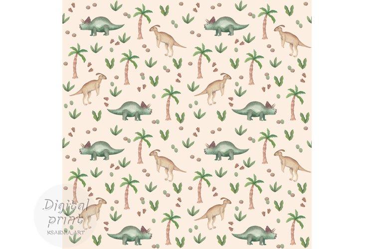 Watercolor dinosaur seamless pattern Dinosaur digital paper