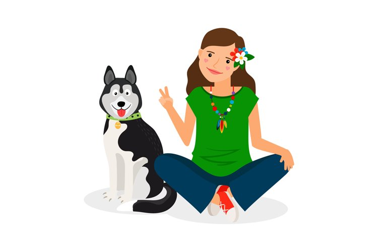 Hippie Girl with Dog example image 1