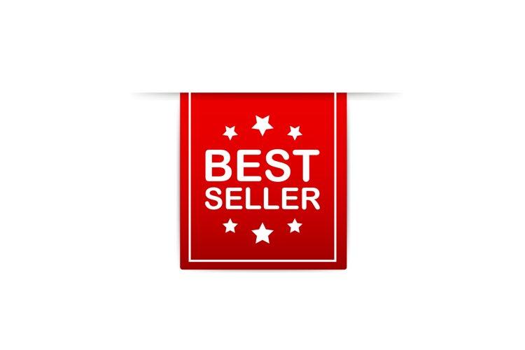 Best seller Red Label. Red Web Ribbon. Vector illustration.