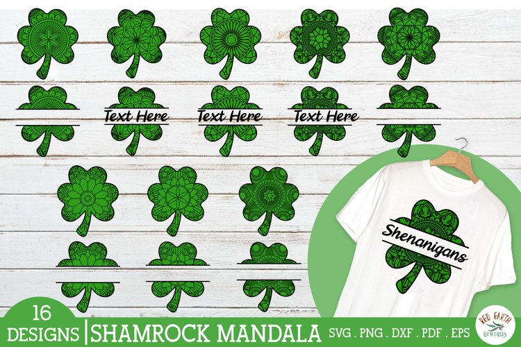 St Patricks day shamrock mandala zentangle bundle SVG,PNG
