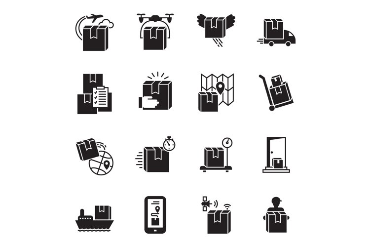 Parcel delivery icon set, simple style example image 1