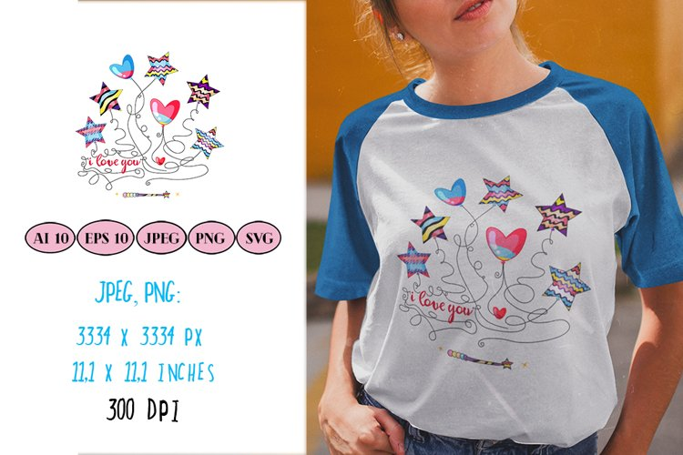 Romantic sublimation with heart, star shaped balloons, quote