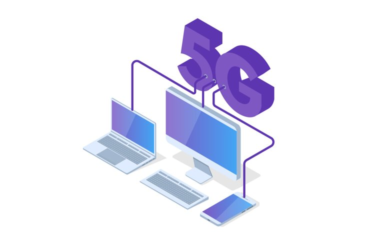 5G connection isometric concept. example image 1