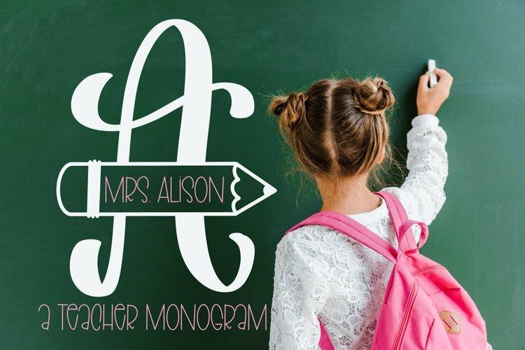 Web Font Teacher Pencil Monogram Split Font