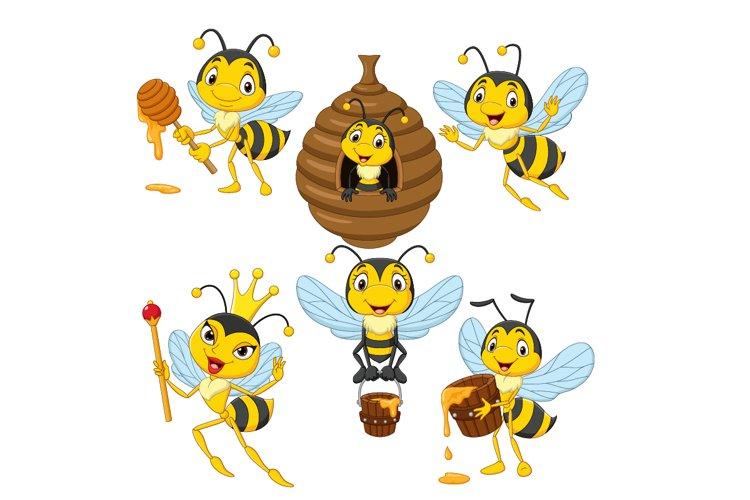 Set of Six Cartoon Bees Character example image 1