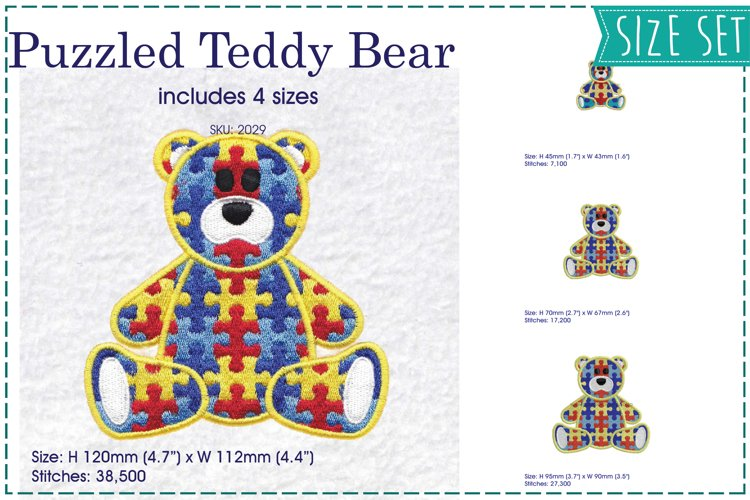 Teddy Bear Sitting Puzzle Detail Design