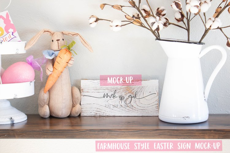 Easter Sign Mock Up - White Distressed Rectangle Sign