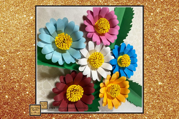 Paper Daisy Template Svg Cut File Paper Flower print cricut