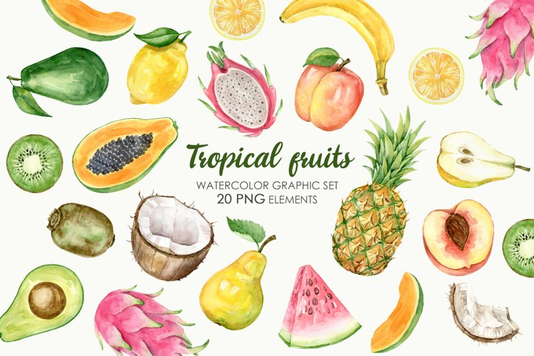 Watercolor Tropical Fruit Clipart. Food illustration example image 1