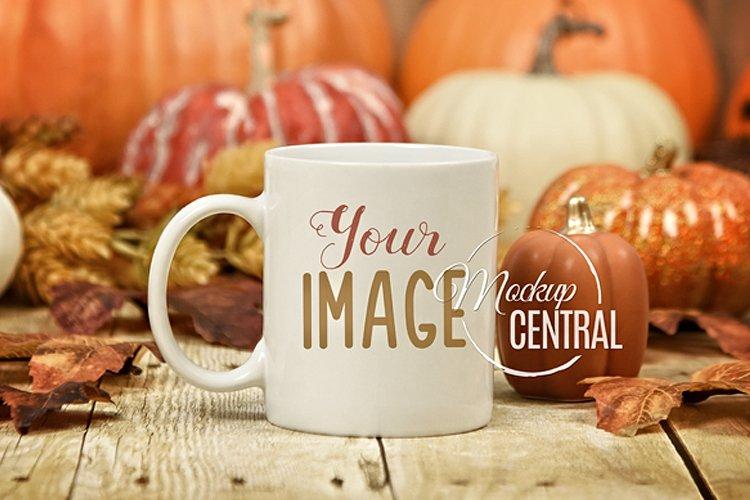 Rustic Fall Halloween Coffee Mug Glass Cup Mockup, JPG example image 1