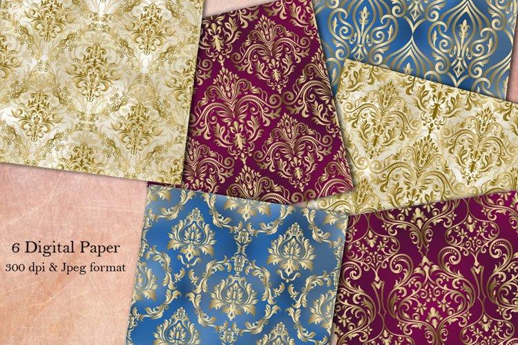 6 Damask seamless pattern collection. Digital Paper. Vintage