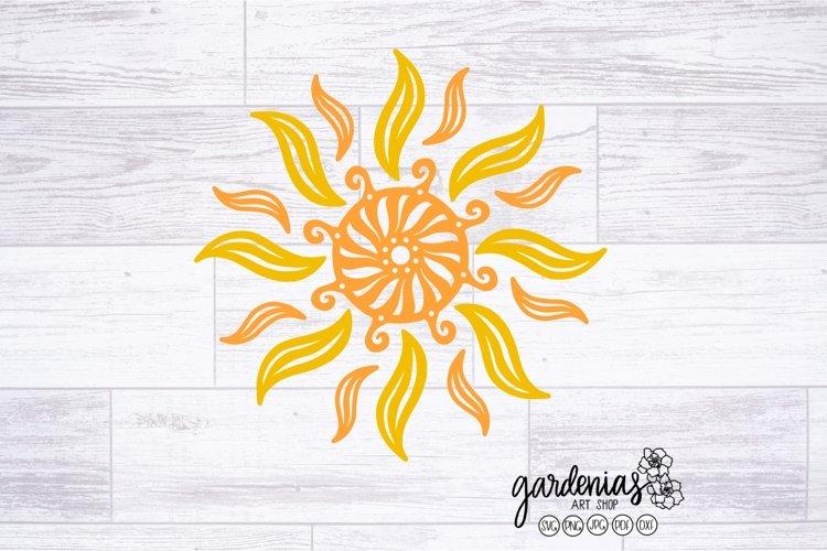 Tribal Sun SVG | Sun Drawing | Rotational Sun Cut File