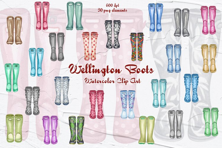 Wellington Boot Watercolor Clipart example image 1