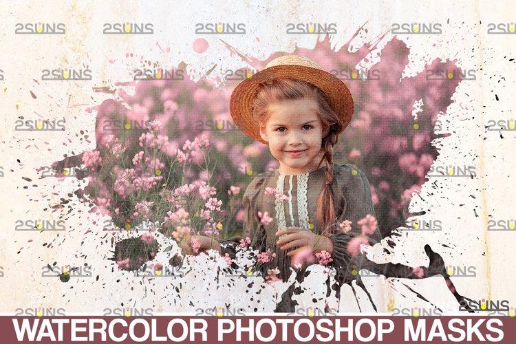 Watercolor portrait paint masks, photo frame, Photoshop example image 1