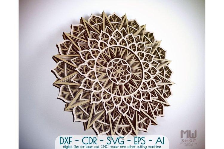 M102 - Flower Mandala DXF file, Multilayer Mandala SVG example image 1