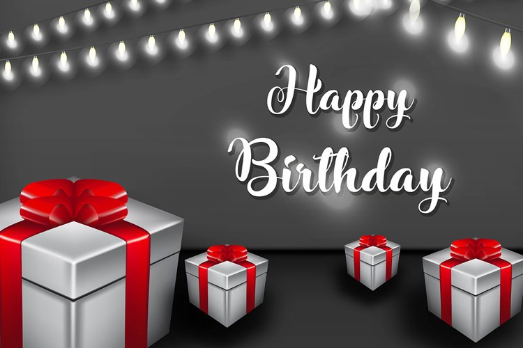 Happy birthday vector design with Lamp and gift box for part