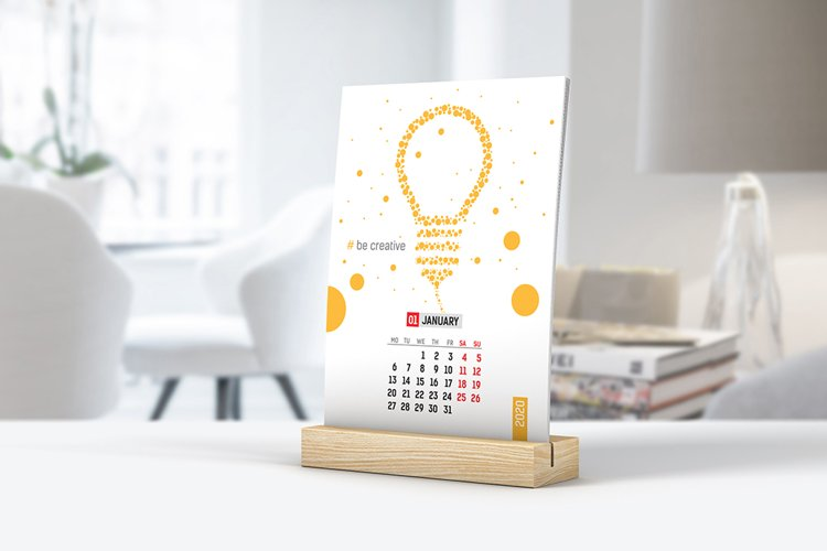 Desk Calendar With Wooden Stand Mockup