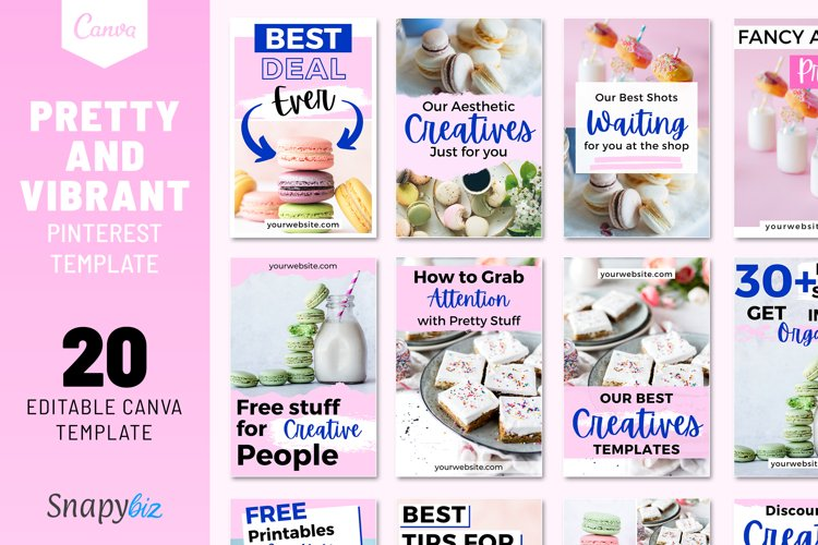 Pretty and Vibrant Pinterest Template example image 1