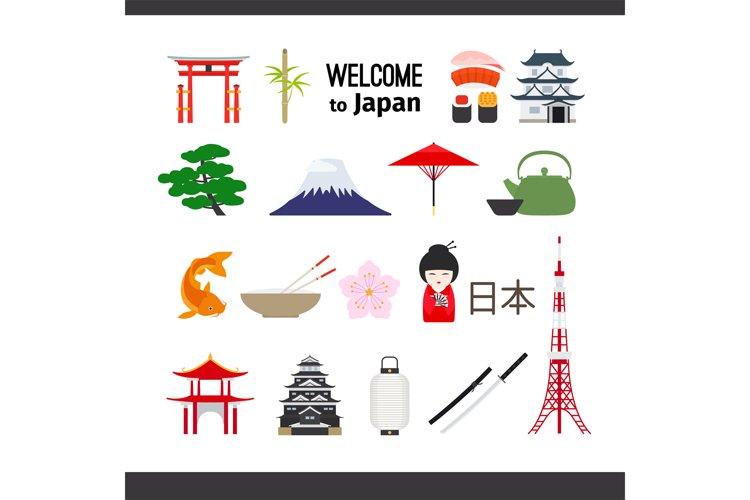Travel Japan icons set example image 1