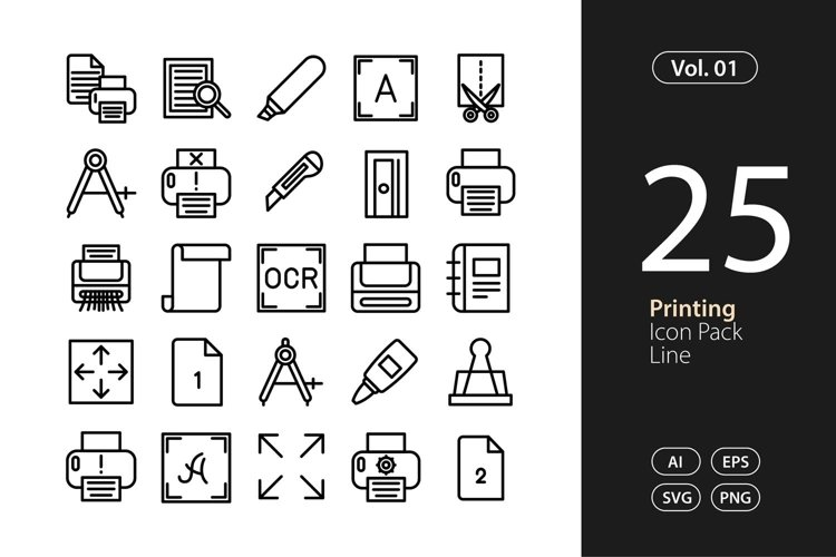Printing Icon Line SVG, EPS, PNG
