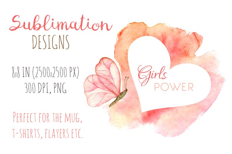 Breast cancer sublimation design. Watercolor girls power art example image 1