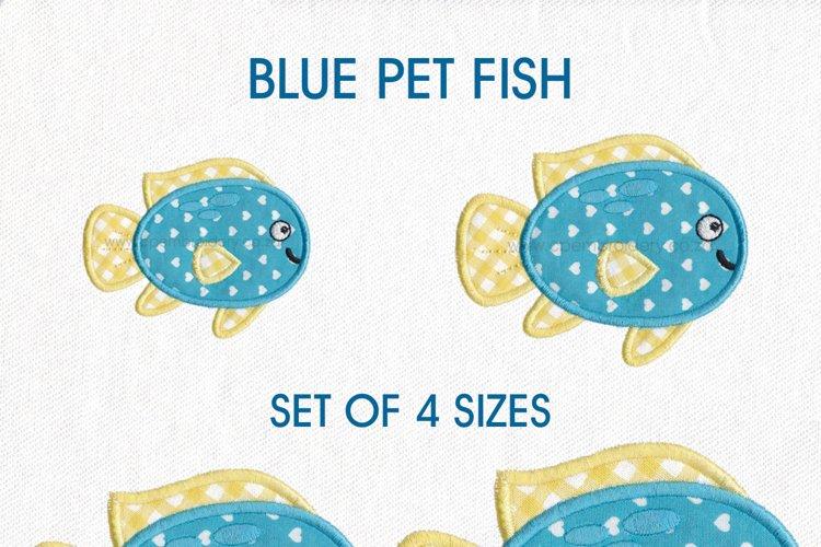 Blue Yellow Fish Applique 4 Sizes Set example image 1