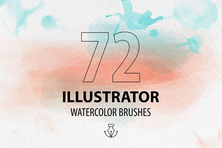 72 Watercolor vector brushes for AI