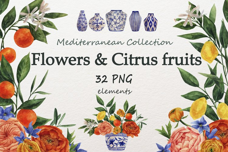 Watercolor set of flowers and citrus fruits