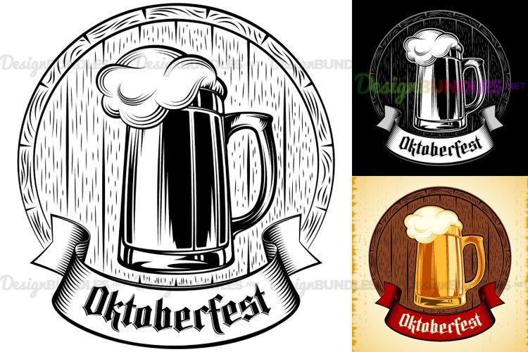 Vector Beer Glass Barrel Foam Oktoberfest Holiday Vintage example image 1