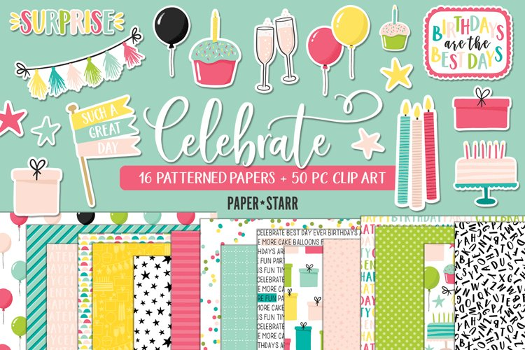 Celebration Digital Paper Clipart Set