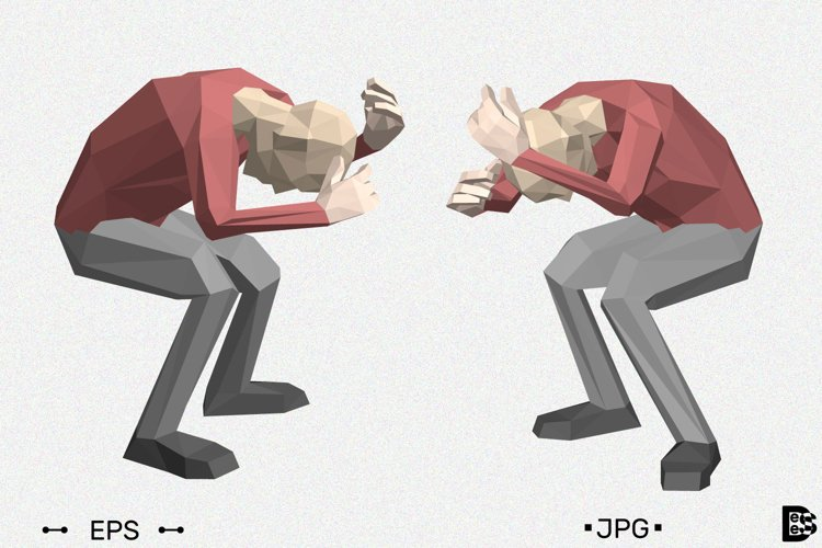 Low poly man hides himself. 3d vector illustration. example image 1