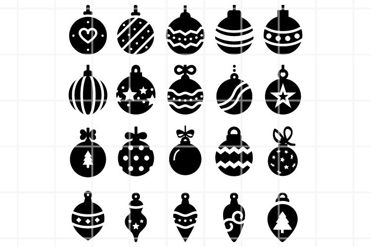 Christmas balls icons set. Christmas toys vector files.