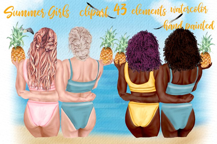 Summer girls clipart Beach girls Swimwear girl clipart