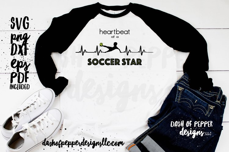 Heartbeat of a Soccer Star - A Soccer SVG example image 1