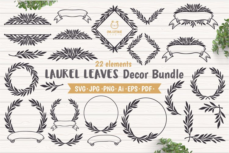Laurel Leaves SVG Bundle, Floral Decor Bundle, Wedding Decor example image 1