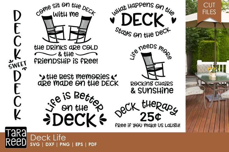Deck Life - Outdoor Living SVG and Cut Files for Crafters example image 1