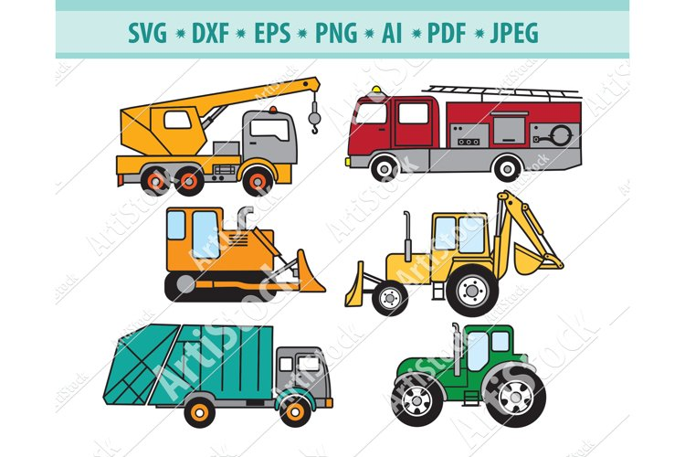Cute Transportation Svg, Car Truck Png, Tractor Eps, Dxf example image 1