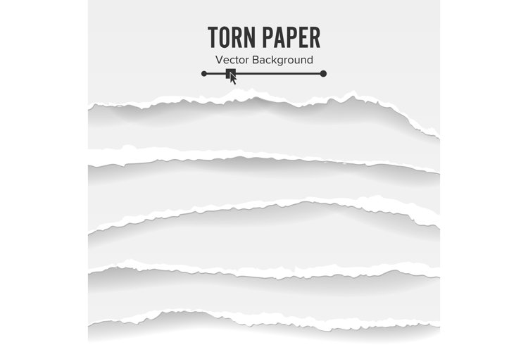 Torn Paper Blank Vector. Collection Of White Torn Paper. example image 1