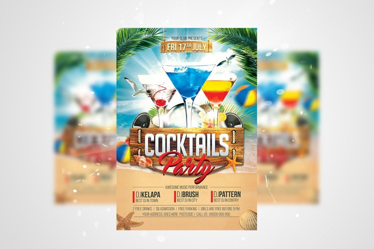 Cocktails Party Flyer PSD Template example image 1