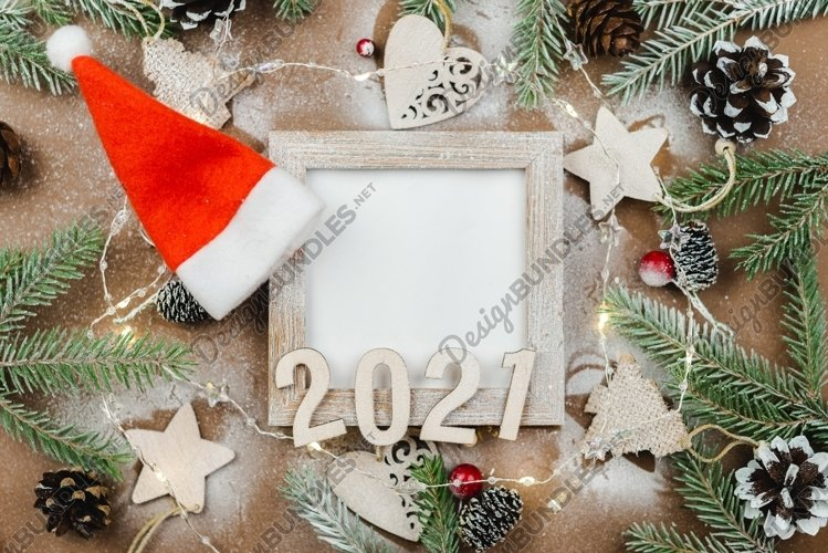 Happy new year 2021 on a wooden background example image 1