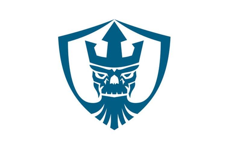 Neptune Skull Trident Crown Crest Icon example image 1
