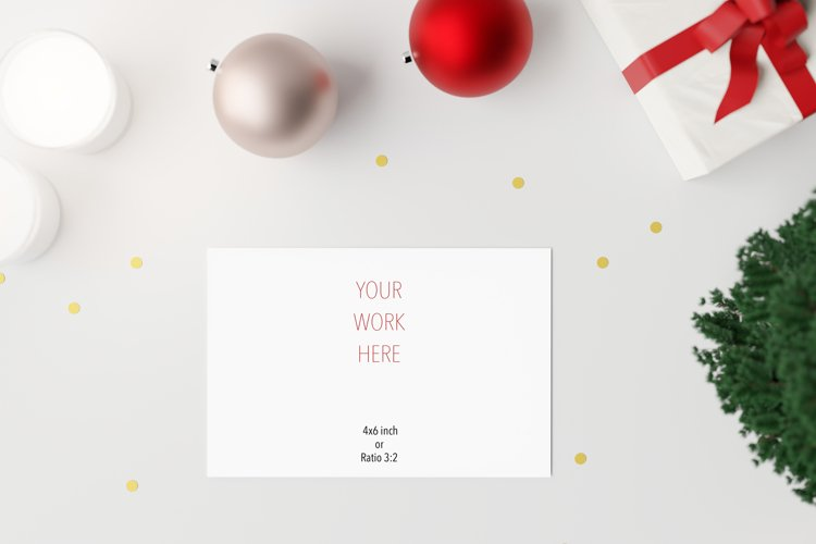 Postcard Mockup, Christmas PSD ,Smartobject Layer example image 1