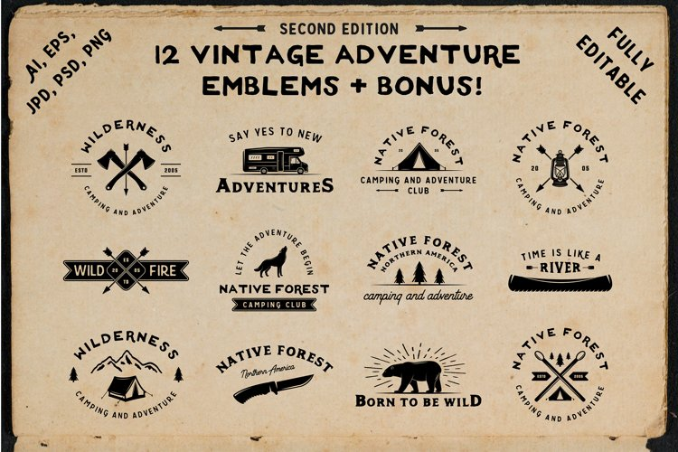 12 vintage adventure emblems