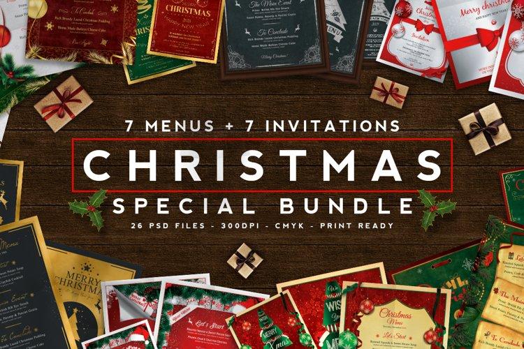 7 Christmas Menus 7 Invitations Bundle